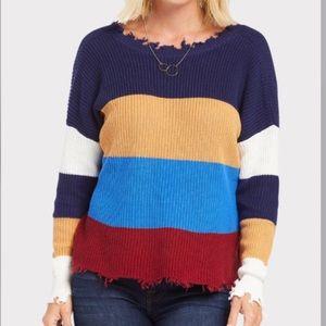 Evereve Fate Distressed Color Block Sweater